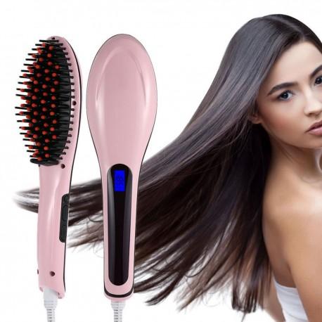 Kartáč na žehlení vlasů - růžový
