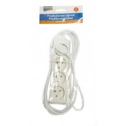 Prodlužovací přívodní kabel bílý 4 zásuvky, 3 metry dlouhý Fairline