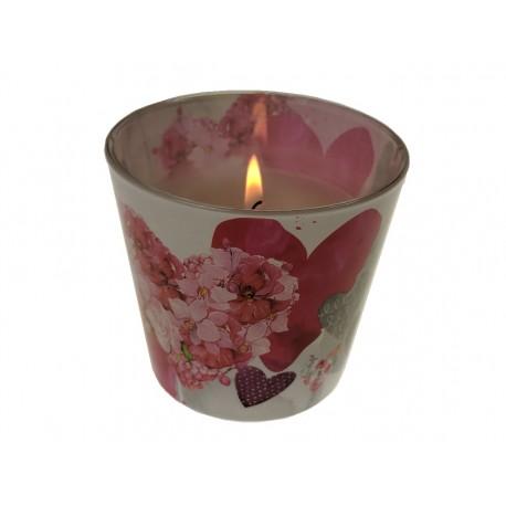 Svíčka 115g ve skle s dekorem květů a srdíčky