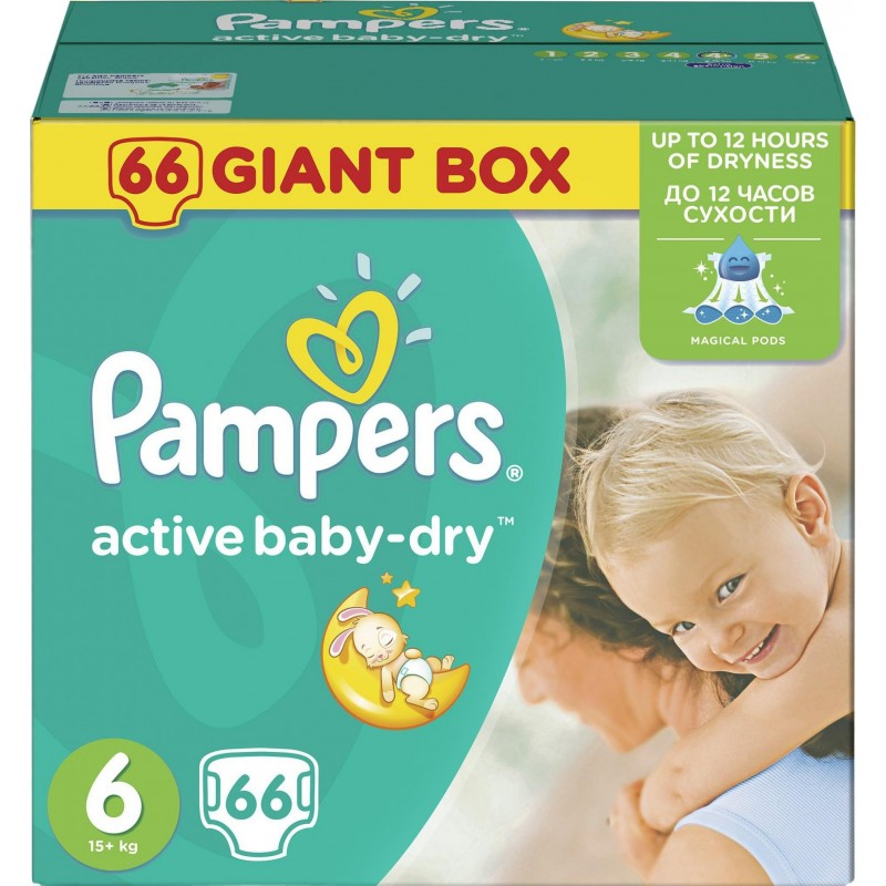 Pampers Plenky Active Baby Giant Box Maxi S4 15kg 1x66ks