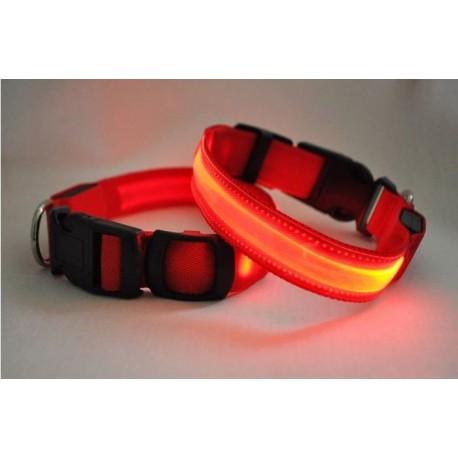 Svítící obojek - červený XS