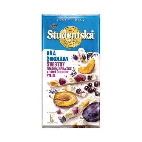 Bílá čokoláda s arašídy, švestky a mákem - Studenská pečeť 15 ks