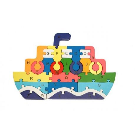 Vzdělávací dřevěné puzzle - parník