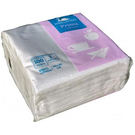 Ubrousky bílé ke stolování Harmony Prima Colleetion 30x30cm 1x100ks