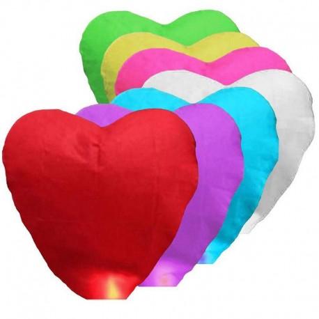 Lampiony štěstí 10ks mix barev tvar srdce