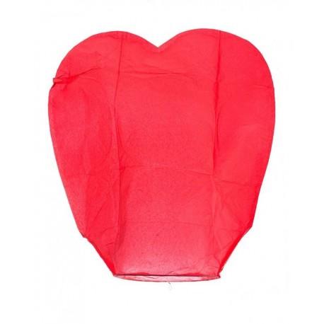 Lampiony štěstí 10ks červené tvar srdce