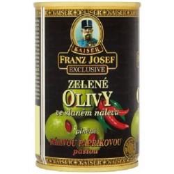 Zelené olivy ve slaném nálevu plněné pálivou paprikovou pastou - Kaiser Franz Josef Exclusive 300ml