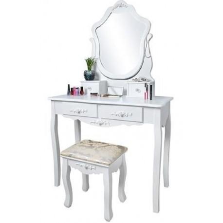 Bílý toaletní stolek se stoličkou a zrcadlem Malatec DT4648