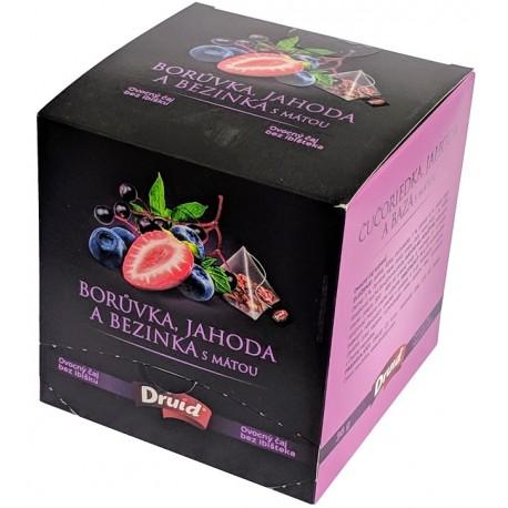 Ovocný čaj borůvka, jahoda a bezinka s mátou Druid 1x36g