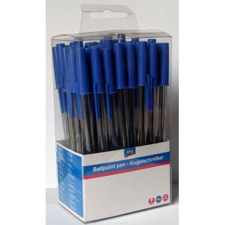 Kuličkové pero jednorázová náplň modrá 1,0 mm aro - 50x1ks