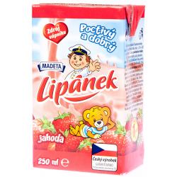 Trvanlivé mléko polotučné jahoda poctivý a dobrý Lipánek Madeta 1x250ml
