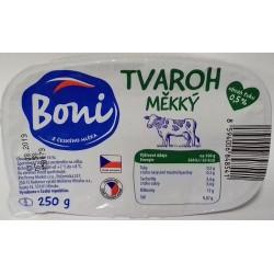Tvaroh měkký nízkotučný s obsah tuku 0,5% vanička Boni 1x250g
