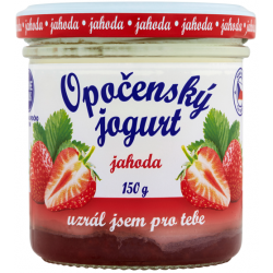 Opočenský jogurt jahoda chlazený 2,8% tuku sklenices uzávěrem 1x150g