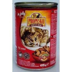 Kompletní krmivo pro dospělé kočky - kousky s hovězím a játry v želé Propesko 1x415g