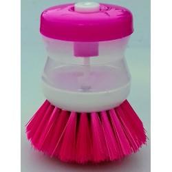 Kartáč na nádobí s dávkovačem saponátu barva růžová
