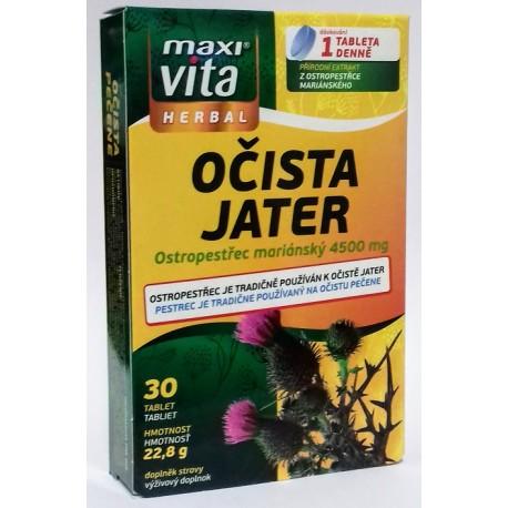 Očista jater z ostropestřce mariánského Maxi Vita Herbal 1x(30 tablet)22,8g
