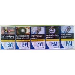 Kartonové balení měkká krabička cigarety s filtrem L&M blue label kolek Z 103 Kč 10x20 ks