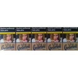Kartonové balení tvrdá krabička cigarety s filtrem Chesterfield Crowned Blue True kolek F 112 Kč 10x20 ks
