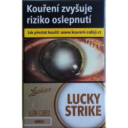 Kartonové balení tvrdá krabička cigarety s filtrem Lucky Strike Luckies Slow-Cured Amber kolek Z 113 Kč 10x20 ks