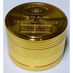 Drtička marihuany kovová zlatá čtyřdílná 5 cm