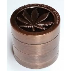 Drtička tabáku kovová čtyřdílná motiv marihuana barva měděná Remo 2,8 cm