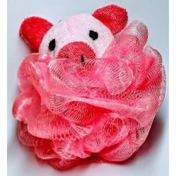 Dětská koupelová masážní mycí žínka růžové prasátko 12x8cm 25g