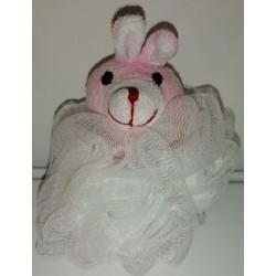 Dětská koupelová masážní mycí žínka růžový králíček 12x8cm 25g