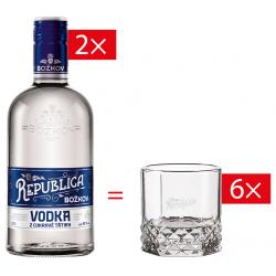 Vodka z cukrové třtiny Božkov Republica 40% 2x0,7l+6x sklenička Božkov Republica