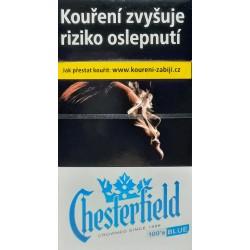 Kartonové balení tvrdá krabička cigarety s filtrem Chesterfield Crowned Blue 100's kolek F 118 Kč 10x20 ks