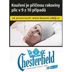 Kartonové balení tvrdá krabička cigarety s filtrem Chesterfield Crowned Blue 28s kolek F 160 Kč 8x28 ks