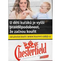 Kartonové balení tvrdá krabička cigarety s filtrem Chesterfield Crowned Red 23s kolek F 133 Kč 8x23 ks